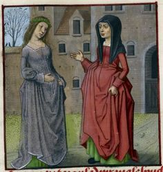 Detail of a miniature of Jalousie ('Jealousy') wearing a black mantle, speaking to Bel Accueil, Harley MS 4425, f. 37v