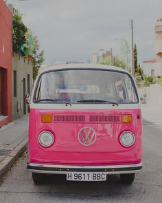 Travel in style in this retro pink Volkswagen van!