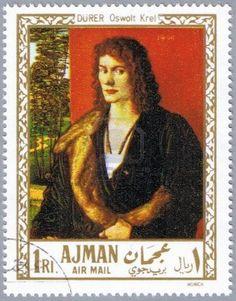 AJMAN - CIRCA 1968: A stamp printed in Ajman shows painting of Albrecht Durer - Portrait of Oswolt Krel, series, circa 1968