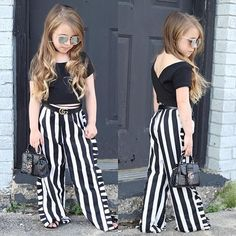 Toddler Kids Baby Girl Clothes Short Sleeve Round Neck Solid Pullover Backless Tops Striped Ruffle P Girls Summer Outfits, Dresses Kids Girl, Little Girl Outfits, Summer Fashion Outfits, Little Girl Fashion, Toddler Fashion, Kids Fashion, Babies Fashion, Fashion Fall