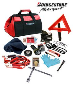 Bridgestone introduces it's heavy duty car emergency kits for safety and security for any roadside emergency. This kit includes tools, first aid kit, lighting, jumper cables, gloves, compressor tire pump, reflective triangle and more. It is both rugged and easy to use.