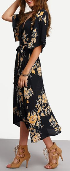 V Neck Florals Wrap Dress. Amazing summer dress for beach or party!