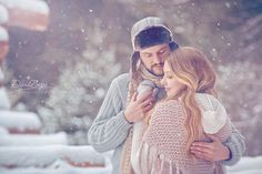 winter love story, knitted sweaters and scarves, snow - engagement shoot
