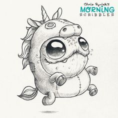 cute art by Chris Ryniak Unicorn suit! Cute Monsters Drawings, Cartoon Monsters, Little Monsters, Cartoon Drawings, Animal Drawings, Cute Drawings, Tattoo Foto, Monster Drawing, Cute Creatures