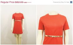 Vintage Dress 60s Mod Mad Men A Line Mini Dress Coral Red Textured