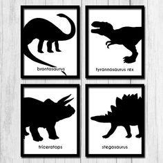 Black and white dinosaur prints