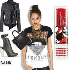 The Styling Agency | ASOS Fashion Finder  #streetstyle #casualchic #leatherjacket #ankleboots #redlips #hairbun #brunette #whattowear #w2w #what2wear