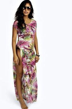 Tia Tropical Print Cut Out Maxi Beach Dress at boohoo.com