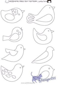 42 Ideas For Embroidery Patterns Birds Felt Ornaments Felt Patterns Free, Felt Ornaments Patterns, Felt Crafts Patterns, Bird Patterns, Applique Patterns, Doll Patterns, Christmas Ornament Template, Christmas Templates, Christmas Applique