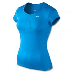 Nike Jersey Tennis Top aus leichtem Dri-FIT-Material (87% Polyester, 13% Elasthan)    http://www.centercourt.de/Tennisbekleidung/Damen/Nike-Jersey-Tennis-Top-blue-glow/white-1.html