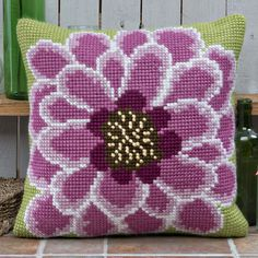 'In Full Bloom' Cross Stitch Cushion Kit by Twilleys of Stamford.