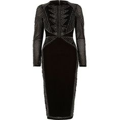 River Island Black embellished long sleeve bodycon dress ($240) ❤ liked on Polyvore featuring dresses, black, bodycon dresses, women, embellished dress, mesh midi dress, bodycon midi dress, bodycon dress and midi dress