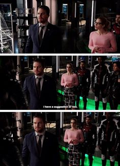 Oliver Queen suiting up for Green Arrow in 6.07