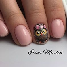 Are you looking for a trend for short nails in Are you struggling to make good-looking manicures without long nails? Owl Nail Art, Owl Nails, Fancy Nails, Cute Nails, Pretty Nails, Owl Nail Designs, Manicure E Pedicure, Pedicures, Creative Nails