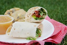 BLT Ranch turkey wrap.. can easily sub ranch for fat free and reg. bacon for turkey bacon. Quick healthy lunch idea.