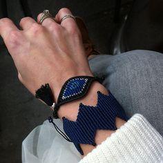 Items similar to Black, indigo blue and silver evil eye macrame bracelet with a black tassel on Etsy Jewelry Knots, Thread Jewellery, Macrame Jewelry, Macrame Bracelets, Handmade Bracelets, Jewelry Art, Friendship Bracelets Designs, Bracelet Designs, Crochet Brooch