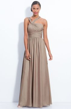 ML Monique Lhuillier Bridesmaids Twist Shoulder Chiffon Gown (Nordstrom Exclusive) available at #Nordstrom