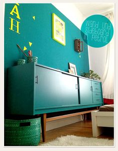 Lybstes.de Sideboard in petrol Neon, Sideboard, Diy Projects, Cabinet, Storage, Furniture, Home Decor, Clothes Stand, Purse Storage