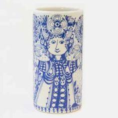 bjorn wiinblad tall flora vase in blue