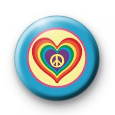 Peace Love Hearts and Rainbows Badge button badges