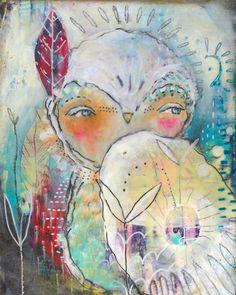 Whimsical Owls and Other Mixed Media Art From the Heart by Juliette Crane Kunstjournal Inspiration, Art Journal Inspiration, Mixed Media Painting, Mixed Media Art, Online Painting Classes, Whimsical Owl, Dream Art, Medium Art, Collage Art