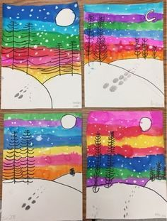 Winter landscapes by grade – one day project (Mrs. Knight's Smartest Artists… Winter landscapes by grade – one day project (Mrs. Knight's Smartest Artists) – Christmas Art Projects, Winter Art Projects, School Art Projects, Diy Projects, First Grade Art, 2nd Grade Art, Grade 2, Arte Elemental, January Art