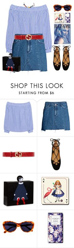 """""""Red Belt"""" by doga1 ❤ liked on Polyvore featuring rag & bone, H&M, Gucci, Aquazzura, Lulu Guinness, Avenida Home, Taylor Morris and MANGO"""