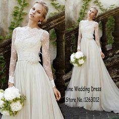 Bateau Neck Long Sleeves With Handmade Flower Decorated A-Line Lace Chiffon Bridal Gowns Long Feather Beach Wedding Dresses