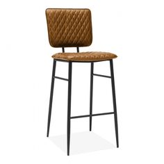 Elgin Quilted Metal Bar Stool, Faux Leather, Tan The vintage inspired Elgin bar stool emanates retro cool with it's quilted tan faux leather upholstery. Supported by a black metal frame, this high bar. High Bar Table, High Bar Stools, Metal Bar Stools, Upholstered Bar Stools, Bar Cart Decor, Retro Stil, Modern Retro, Sofa Sale, Bar Furniture