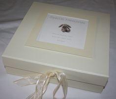 Ivory Keepsake Memory Box with cute bunny image, 2 sizes, from £21.99