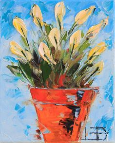 Tulip Art Painting 8x0 Yellow Tulips Textured by PaletteKnifeArt