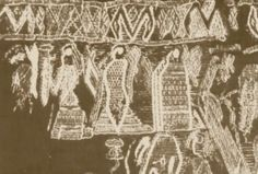 """Detail from a tapestry found in the Oseberg ship priestess burial, showing three females. The burial happened around 834 AD in Vestfold, Norway. Oseberg probably means """"The Mound of the Aesir (gods)"""", (""""Asa bergr"""") where two women of high standing were buried together with a lot of ritual artifacts, probably indicating that they were priestesses.The three females in the tapestry probably represent  ritual participants or mythical beings."""