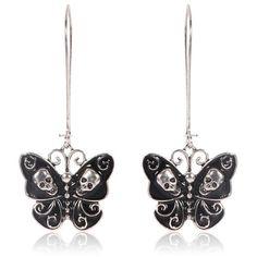 Gothic Butterfly Skull Dangle Earrings – Skullflow    https://www.skullflow.com/collections/skull-earrings/products/butterfly-skull-dangle-earrings