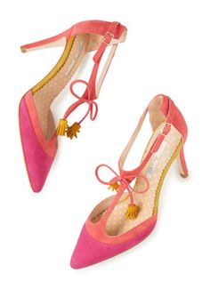Pink and coral Boden spotty tassle heels