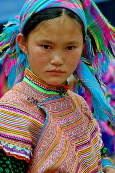 Girl from the Flower Hmong hill tribe
