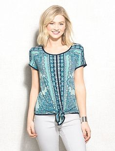 Mixed Paisley Print Tie-Front Top - love the colors and print, except the tie front