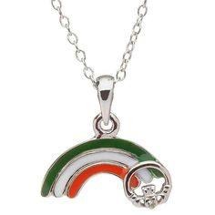 Silver Enamel Rainbow Diamond Pendant