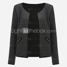 Feminino Jaqueta Informal / Casual / Tamanhos Grandes Simples / Moda de Rua Primavera / Outono,Sólido Cinza Poliéster Decote Redondo- - BRL R$43,91