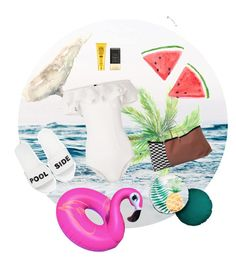 """SWIM SWIM"" by egaemgyu on Polyvore featuring Lisa Marie Fernandez, ferm LIVING, Schutz, Avon, BANZAI, Soleil Toujours, Summer, pool and swimsuit"