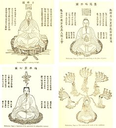 Four Stages of meditation, from The Secret of the Golden Flower   (Chinese: 太乙金華宗旨; pinyin: Tàiyǐ Jīnhuá Zōngzhǐ), a Chinese Taoist classic about neidan (inner alchemy) meditation.  Stage 1: Gathering the light. Stage 2: Origin of a new being in the place of power. Stage 3: Separation of the spirit-body for independent existence. Stage 4: The centre in the midst of the conditions.