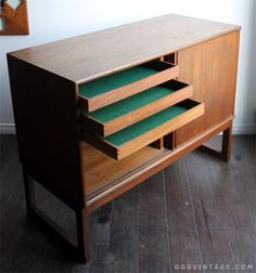TEAK MID CENTURY DANISH MODERN SMALL CREDENZA UNIT WITH DRAWERS AND SLIDING DOORS.- SOLD Teak Furniture, Mid Century Design, Danish Modern, Arches, Sliding Doors, Credenza, Drawers, Design Ideas, Baby