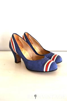 f968f5fa402bff Items similar to vintage 1940s shoes - 40s high heels   royal blue red  stripes by Valentines on Etsy