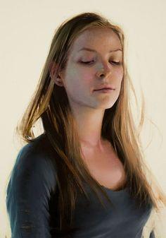 """Elena"" - Daniel Sprick, oil on board, 2010 {figurative realism art blonde female head pretty woman face portrait painting #loveart} danielsprick.com"