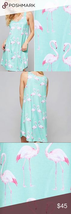 """Mint Flamingo Dress Flamingo love! ❤️ This dress is adorable for the beach, going out for the day or as a cover up over a swimsuit. 100% polyester.  * Before asking, please note whatever sizes are listed below are all I currently have in stock.   ▫️Add to Bundle"""" to add more items in my closet or """"Buy"""" to checkout here with your size.  ↓Follow me on Instagram ↓         @ love.jen.marie Twilight Gypsy Collective Dresses Mini"""