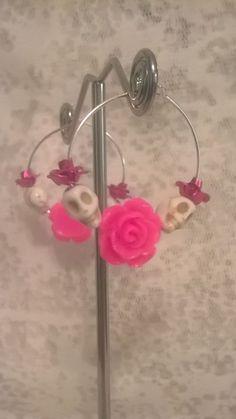 Cotton Candy Day of the Dead Sugar Skull Pink Rose Skull Hoop Earrings #SugarSkullGlam #Hoop