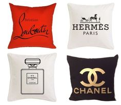 Chanel, Louboutin, Hermes Inspired Pillows—love these for my dressing room! My New Room, My Room, Chanel Decor, Prince Charmant, Beauty Room, Mode Inspiration, Diy Home Decor, Bedroom Decor, Bedroom Sets