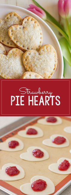 Strawberry Pie Hearts - heart shaped hand pies filled with strawberry preserves and sprinkled with sparkling sugar!