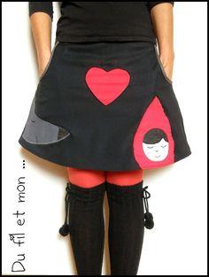 Jupe loup et chaperon rouge. dufiletmon.blogspot.fr