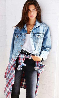 #winter #fashion /  Denim Jacket + Black Skinny Jeans
