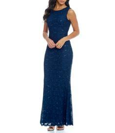 Calvin Klein Sleeveless Open Back Lace Gown #Dillards
